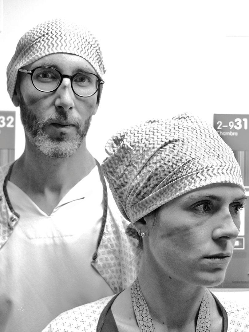 Gaëlle infirmière et Sébastien aide-soignant
